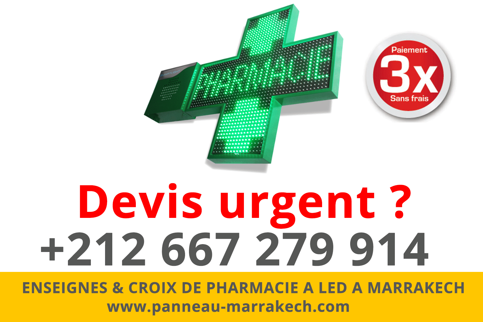 ENSEIGNES & CROIX DE PHARMACIE A LED A MARRAKECH habillage facade pharmacie marrakech