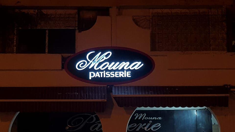 Panneau publicitaire avec éclairage en LED pour pâtisserie Mouna 3m/1.30m  Marrakech